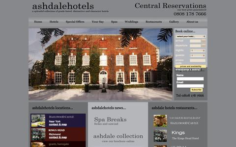 Screenshot of Home Page ashdalehotels.com - Luxury hotels UK, Conference venues & meeting rooms - Ashdale Hotels, Yorkshire - captured Sept. 30, 2014