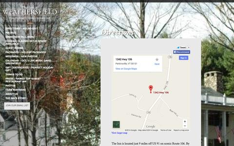 Screenshot of Maps & Directions Page weathersfieldinn.com - Directions | The Inn at Weathersfield - captured Oct. 6, 2014