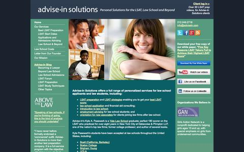 Screenshot of Home Page advisein.com - Individual Advising for LSAT, Law School Admissions and Law School - Advise-In Solutions - captured Oct. 4, 2014