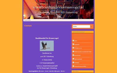 Screenshot of Contact Page mijnwebwinkel.nl - Contact | boekhandeldekraanvogel - captured March 30, 2016