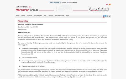Screenshot of Privacy Page marcotran.com - Marcotran Transportes Internacionales - Política de Privacidad Eng - captured Nov. 27, 2016