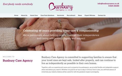 Screenshot of Home Page bunburyagency.com - Bunbury Care Agency - Home Care & Companionship - captured Feb. 8, 2016