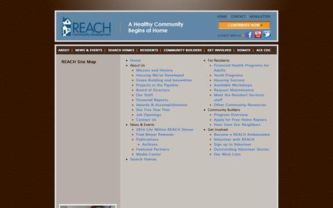 Screenshot of Site Map Page reachcdc.org - REACH Site Map | REACH Community Development, Inc. - captured Sept. 30, 2014