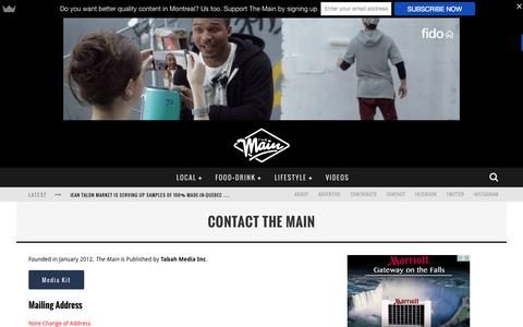 Screenshot of Contact Page themainmtl.com - Contact The Main | The Main MTL - captured Sept. 24, 2015