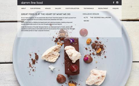 Screenshot of Home Page dammfinefood.com.au - DAMM FINE FOOD | Melbourne Wedding, Event Management, Functions & Corporate Catering - captured Aug. 5, 2018