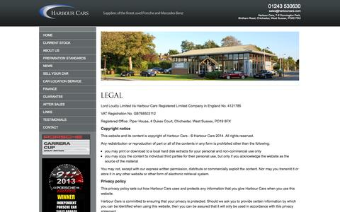 Screenshot of Terms Page harbourcars.com - Harbour Cars - captured Sept. 30, 2014
