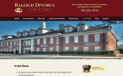 Screenshot of Press Page raleighdivorcelawfirm.com - In the News | Raleigh Divorce Law Firm | Raleigh, North Carolina - captured Sept. 28, 2018