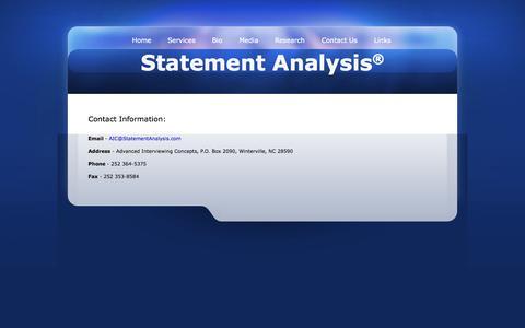Screenshot of Contact Page statementanalysis.com - Statement Analysis Contact Information - captured Oct. 4, 2014