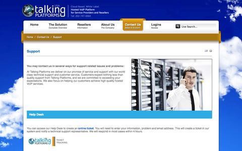 Screenshot of Support Page talkingplatformsusa.com - Support for Talking Platforms white label hosted voip services platform - captured Oct. 27, 2014
