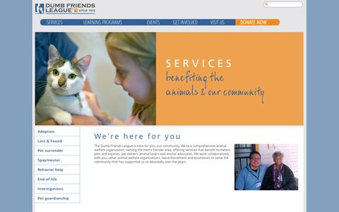 Screenshot of Services Page ddfl.org - We're here for you | Dumb Friends League - captured Sept. 22, 2014