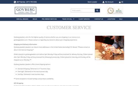 Screenshot of Support Page govbergwatches.com - Customer Service | Luxury Jewelery - captured Dec. 12, 2018