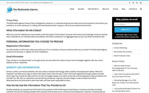 Screenshot of Privacy Page themultimediaagency.com - Privacy Policy - The Multimedia Agency - captured Sept. 30, 2014