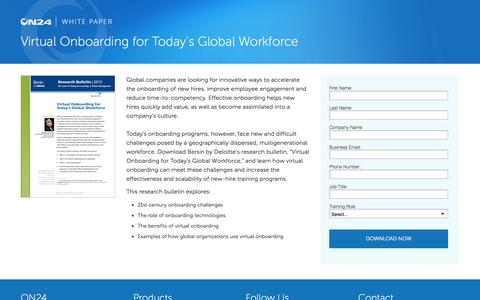 Screenshot of Landing Page on24.com - Virtual Onboarding for Today's Global Workforce - captured Oct. 6, 2016