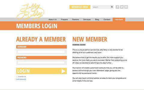 Screenshot of Login Page jellybellypt.com - Members Login | JellyBellyPT - captured June 8, 2017