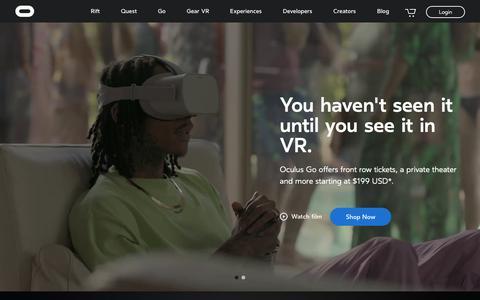 Screenshot of Home Page oculus.com - Oculus - captured Dec. 5, 2018