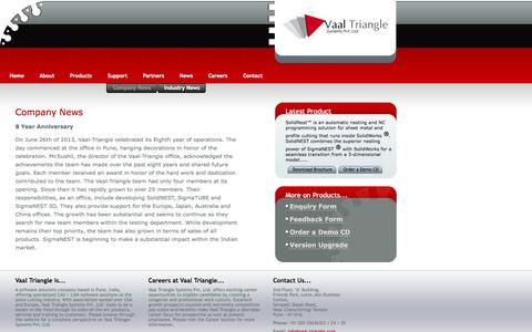 Screenshot of Press Page vaal-triangle.com - Vaal Triangle Systems Pvt. Ltd. - captured Oct. 7, 2014