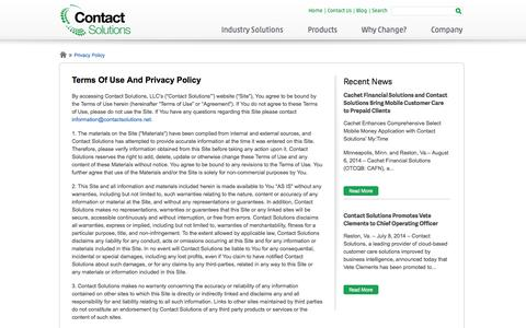 Screenshot of Privacy Page contactsolutions.com - Privacy Policy | Contact Solutions - captured Sept. 13, 2014