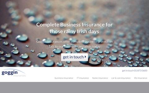 Screenshot of Home Page goggin.ie - Business Insurance Ireland - Van Insurance - House Insurance | Goggin - captured Oct. 2, 2014