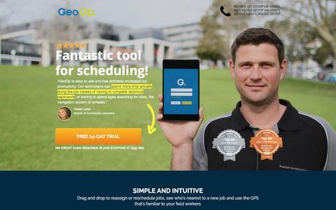 Screenshot of Landing Page geoop.com - Capterra, Service Dispatch Software   GeoOp - captured Aug. 24, 2016