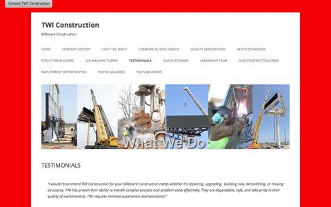 Screenshot of Testimonials Page twiconstruction.com - Testimonials on TWI Construction | TWI Construction - captured Sept. 30, 2014