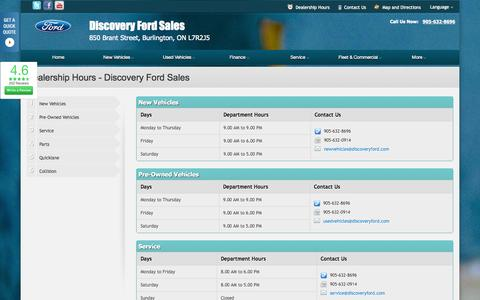Screenshot of Hours Page dealerconnection.com - Dealership Hours at Discovery Ford Sales - Your Burlington, Ontario Ford dealer - captured Sept. 19, 2014