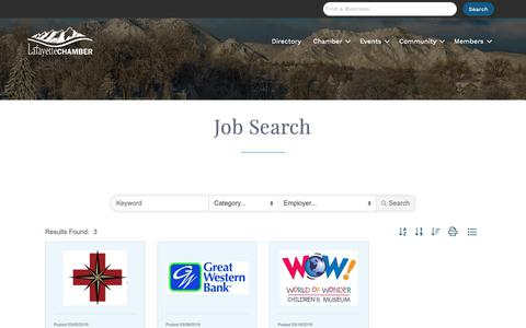 Screenshot of Jobs Page lafayettecolorado.com - Job Search - Lafayette Chamber of Commerce - captured March 27, 2019