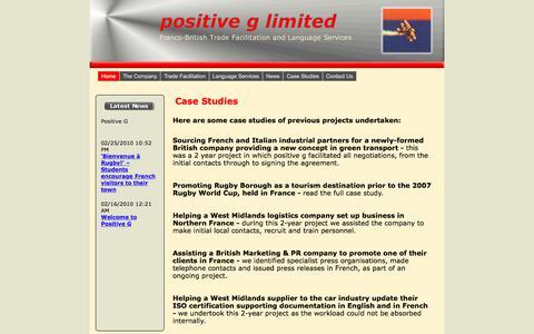 Screenshot of Case Studies Page positive-g.co.uk - Case Studies - captured July 9, 2017