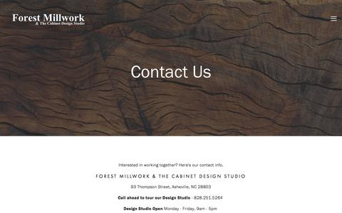 Screenshot of Contact Page forestmillwork.com - Contact Us — Forest Millwork - captured Feb. 10, 2016