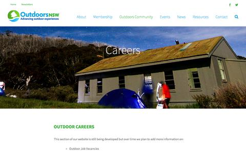 Screenshot of Jobs Page outdoorsnsw.org.au - Careers - Outdoors NSW - captured April 12, 2017