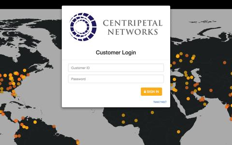 Screenshot of Login Page centripetalnetworks.com - Centripetal Networks - Login - captured Oct. 29, 2014