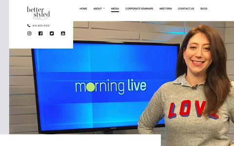 Screenshot of Press Page betterstyled.com - Media appearances by Erin Nadler, Personal Stylist - captured Oct. 5, 2018
