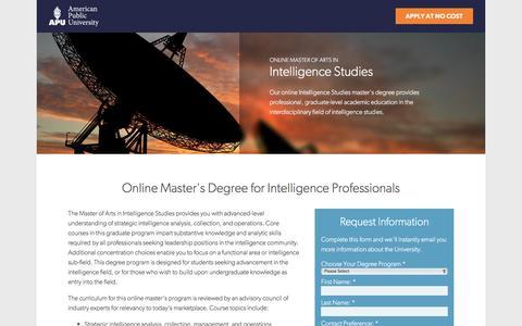 Screenshot of Landing Page apus.edu - Online Master of Arts in Intelligence Studies at American Public University - captured Aug. 18, 2016