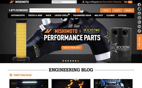 Screenshot of Home Page mishimoto.com - Mishimoto™ - Aluminum Radiator, Performance Radiator, Intercooler Specialists - captured Aug. 12, 2016