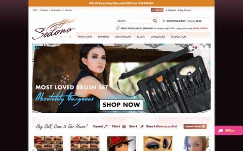 Screenshot of Home Page sedonalace.com - Makeup Brushes | Brushes For Makeup | 168 Palette | 120 Palette | 88 Color Palette - Sedona Lace - captured Sept. 22, 2014