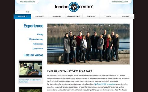 Screenshot of About Page lasereye.com - Experience | London Eye Centre - captured Sept. 23, 2018