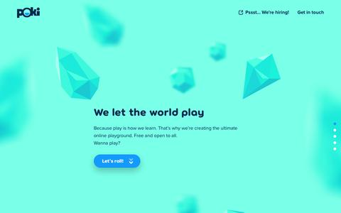 Screenshot of Developers Page poki.com - Poki | Let the world play - captured Jan. 26, 2018