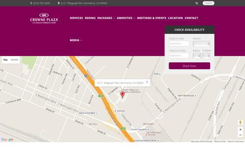 Screenshot of Contact Page cpccla.com - Crowne Plaza Hotel at Commerce Casino Los Angeles - captured Feb. 1, 2016