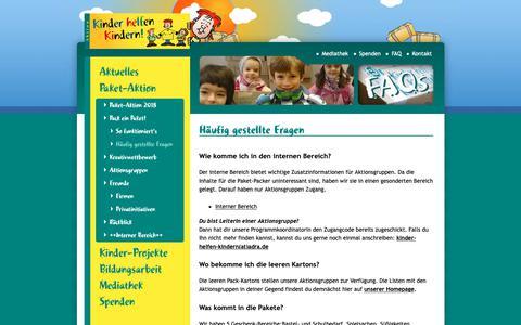 Screenshot of FAQ Page kinder-helfen-kindern.org - Häufig gestellte Fragen – Aktion Kinder helfen Kindern - captured Oct. 24, 2018
