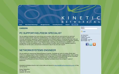 Screenshot of Jobs Page kineticnetworking.com - Careers - captured Sept. 30, 2014
