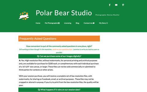 Screenshot of FAQ Page polarbearstudio.com - Polar Bear Studio Pet Photography • Serving Manatee & Sarasota County - captured Nov. 5, 2018
