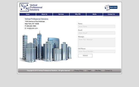 Screenshot of Contact Page Site Map Page verticalprofessionalsolutions.com - Vertical Professional Solutions | Expert Elevator and Escalator Consultants throughout NYC and the US | CONTACT US - captured Oct. 24, 2014
