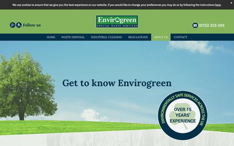 Screenshot of About Page envirogreen.co.uk - Envirogreen – waste disposal contractor in Slough, Berkshire - captured Sept. 28, 2018