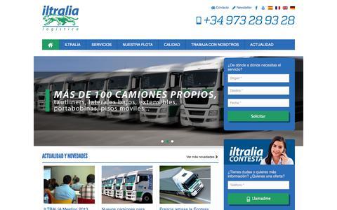 Screenshot of Home Page iltralia.com - Iltralia, especialistas en transporte de mercancías nacional y internacional - captured Sept. 29, 2014