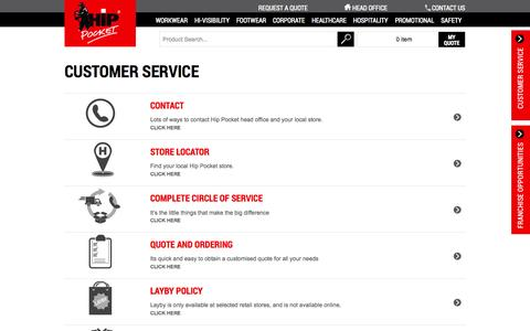 Screenshot of Privacy Page Support Page hippocketworkwear.com.au - Customer Service - captured Oct. 23, 2014