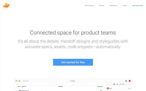 Screenshot of Home Page zeplin.io - Zeplin - captured June 23, 2018