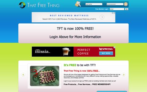 Screenshot of Home Page thatfreething.com - That Free Thing - Free Products & Free Services Worldwide - captured Sept. 22, 2014