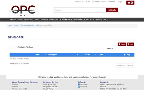Screenshot of Developers Page omahapaper.com - Omaha Paper Company - captured Oct. 20, 2017