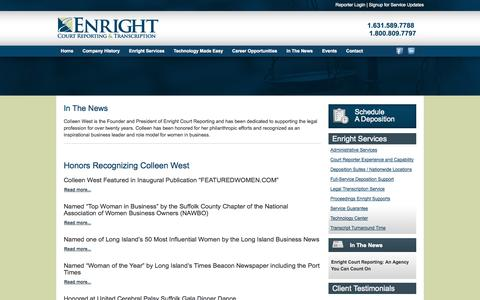 Screenshot of Press Page enrightcorp.com - Enright Court Reporting In The News - captured Oct. 3, 2014