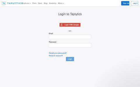 Screenshot of Login Page taplytics.com - Sandy says... - captured Jan. 30, 2017