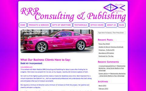 Screenshot of Testimonials Page rrrconsulting-publishing.com - Testimonials | Robin R. Robbins Consulting & Publishing - captured Sept. 30, 2014
